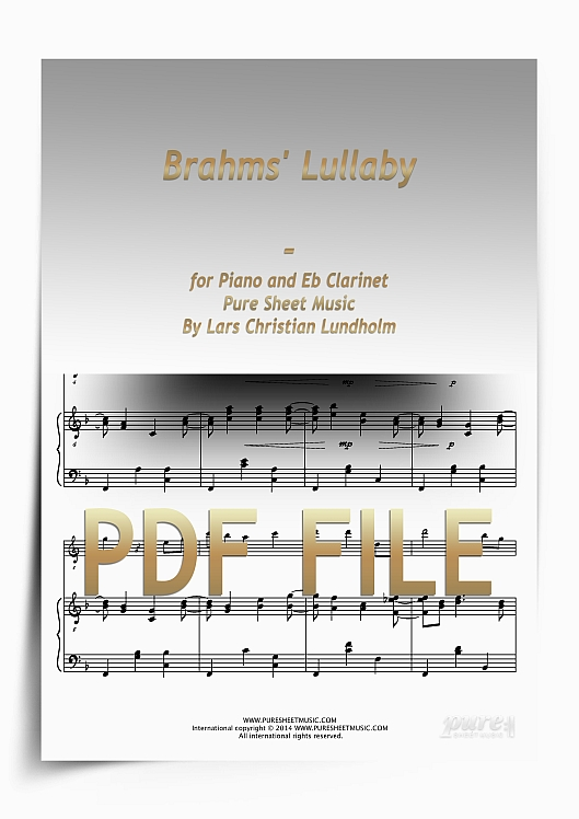 Thumbnail Brahms' Lullaby for Piano and Eb Clarinet (PDF file), Pure Sheet Music arranged by Lars Christian Lundholm