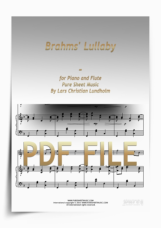 Thumbnail Brahms' Lullaby for Piano and Flute (PDF file), Pure Sheet Music arranged by Lars Christian Lundholm