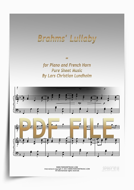 Thumbnail Brahms' Lullaby for Piano and French Horn (PDF file), Pure Sheet Music arranged by Lars Christian Lundholm