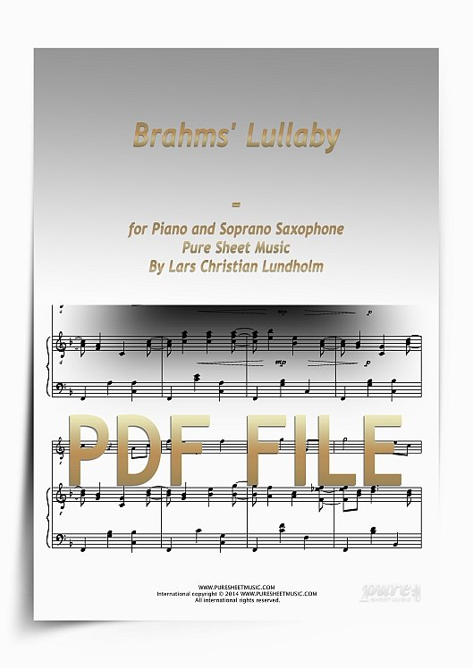 Thumbnail Brahms' Lullaby for Piano and Soprano Saxophone (PDF file), Pure Sheet Music arranged by Lars Christian Lundholm