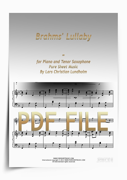 Thumbnail Brahms' Lullaby for Piano and Tenor Saxophone (PDF file), Pure Sheet Music arranged by Lars Christian Lundholm
