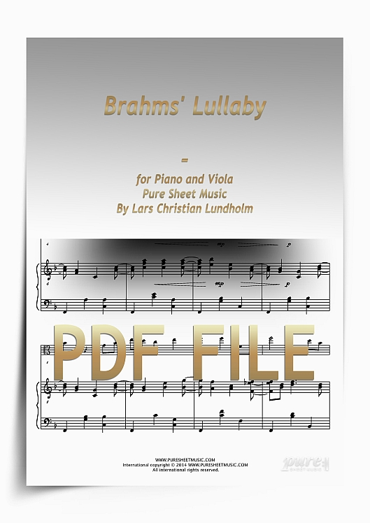 Thumbnail Brahms' Lullaby for Piano and Viola (PDF file), Pure Sheet Music arranged by Lars Christian Lundholm
