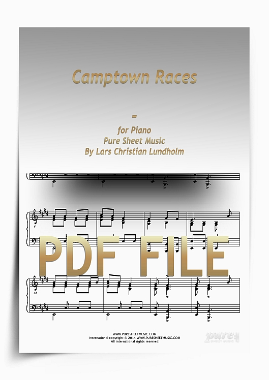 Thumbnail Camptown Races for Piano (PDF file), Pure Sheet Music arranged by Lars Christian Lundholm
