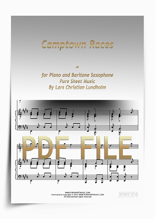 Thumbnail Camptown Races for Piano and Baritone Saxophone (PDF file), Pure Sheet Music arranged by Lars Christian Lundholm