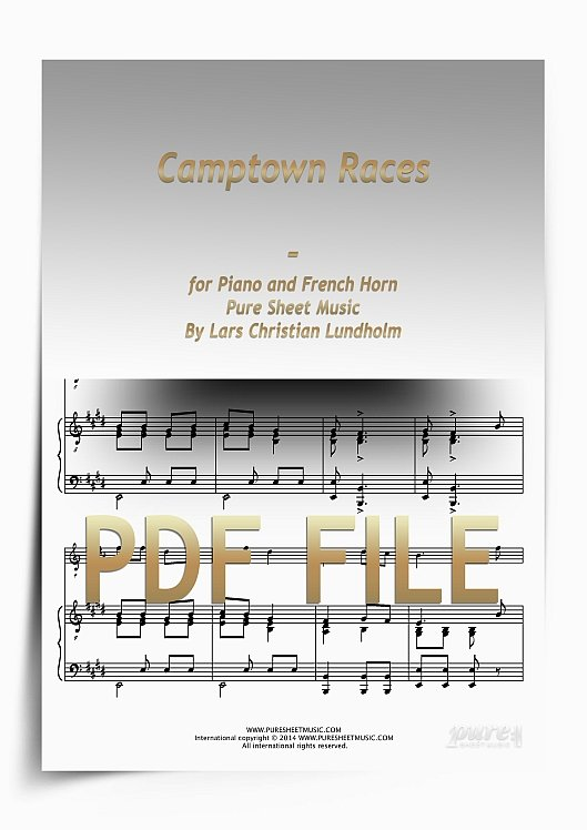 Thumbnail Camptown Races for Piano and French Horn (PDF file), Pure Sheet Music arranged by Lars Christian Lundholm