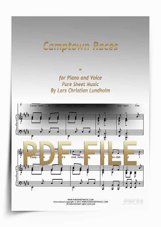 Thumbnail Camptown Races for Piano and Voice (PDF file), Pure Sheet Music arranged by Lars Christian Lundholm