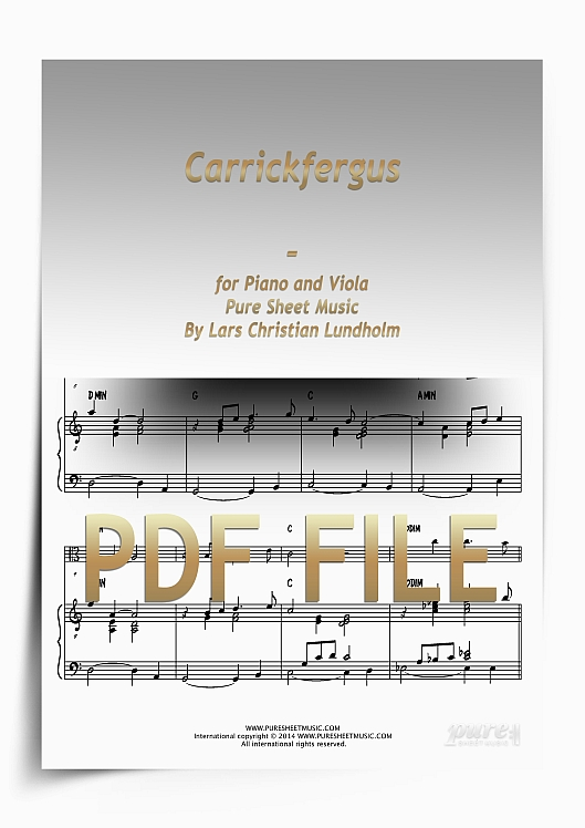 Thumbnail Carrickfergus for Piano and Viola (PDF file), Pure Sheet Music arranged by Lars Christian Lundholm