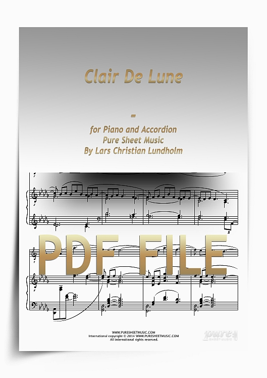 Thumbnail Clair De Lune for Piano and Accordion (PDF file), Pure Sheet Music arranged by Lars Christian Lundholm