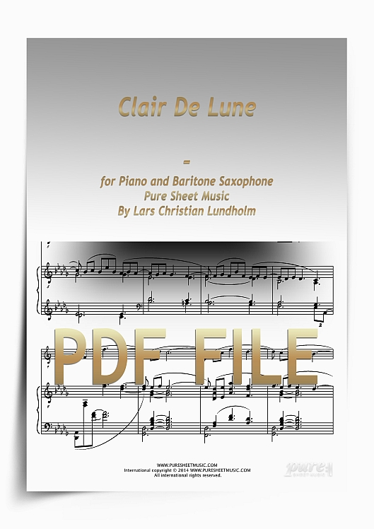 Thumbnail Clair De Lune for Piano and Baritone Saxophone (PDF file), Pure Sheet Music arranged by Lars Christian Lundholm