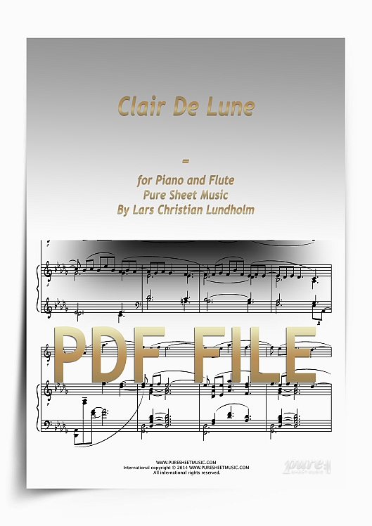 Thumbnail Clair De Lune for Piano and Flute (PDF file), Pure Sheet Music arranged by Lars Christian Lundholm