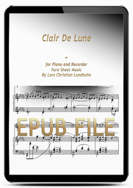 Thumbnail Clair De Lune for Piano and Recorder (EPUB file), Pure Sheet Music as Ebook arranged by Lars Christian Lundholm