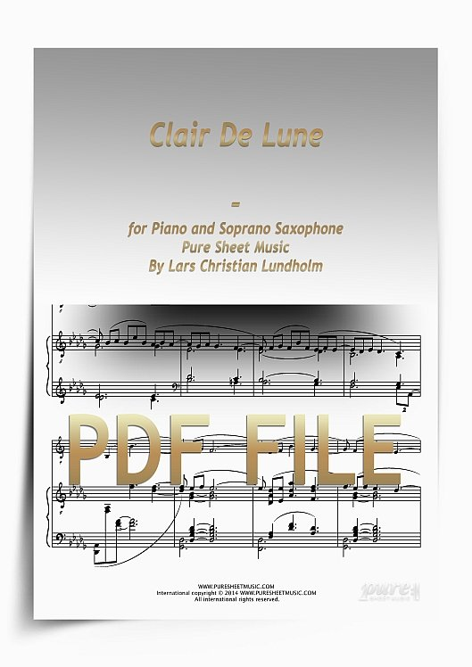 Thumbnail Clair De Lune for Piano and Soprano Saxophone (PDF file), Pure Sheet Music arranged by Lars Christian Lundholm