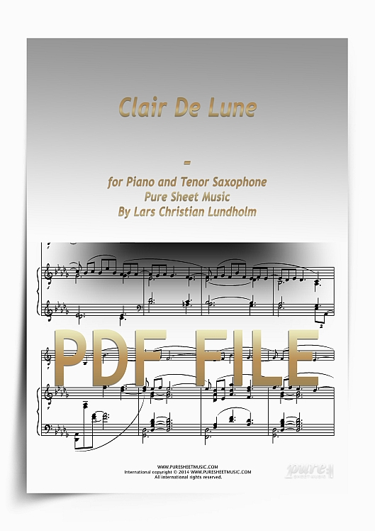 Thumbnail Clair De Lune for Piano and Tenor Saxophone (PDF file), Pure Sheet Music arranged by Lars Christian Lundholm