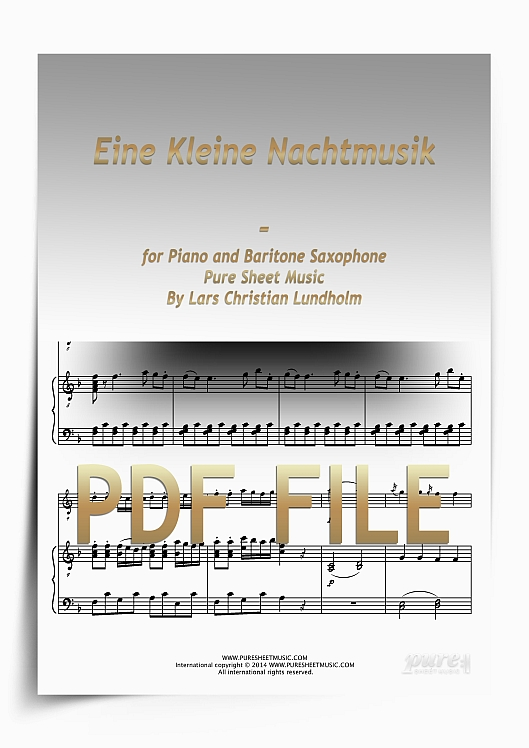 Thumbnail Eine Kleine Nachtmusik for Piano and Baritone Saxophone (PDF file), Pure Sheet Music arranged by Lars Christian Lundholm