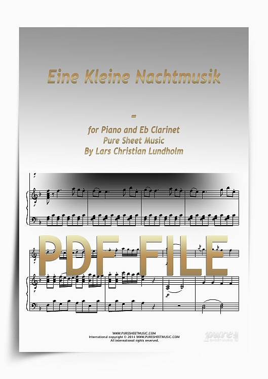 Thumbnail Eine Kleine Nachtmusik for Piano and Eb Clarinet (PDF file), Pure Sheet Music arranged by Lars Christian Lundholm