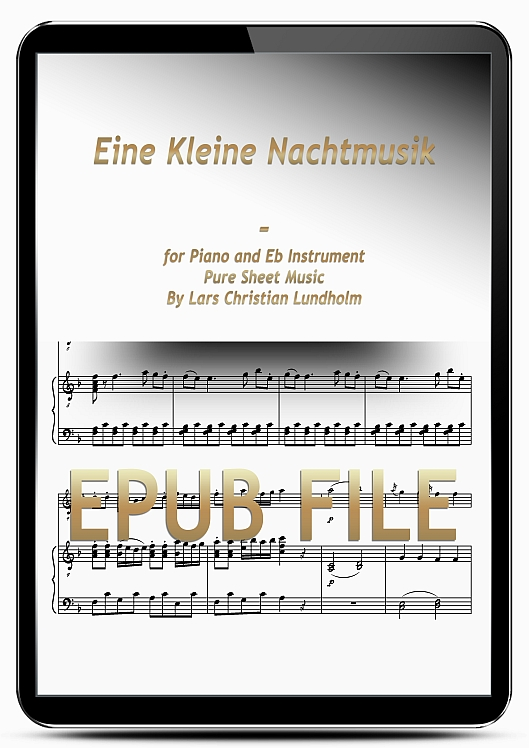Thumbnail Eine Kleine Nachtmusik for Piano and Eb Instrument (EPUB file), Pure Sheet Music as Ebook arranged by Lars Christian Lundholm