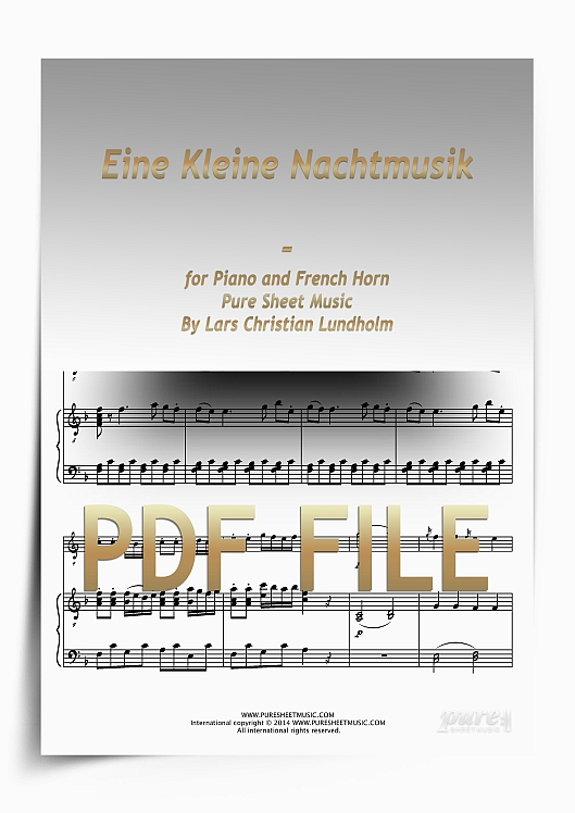 Thumbnail Eine Kleine Nachtmusik for Piano and French Horn (PDF file), Pure Sheet Music arranged by Lars Christian Lundholm