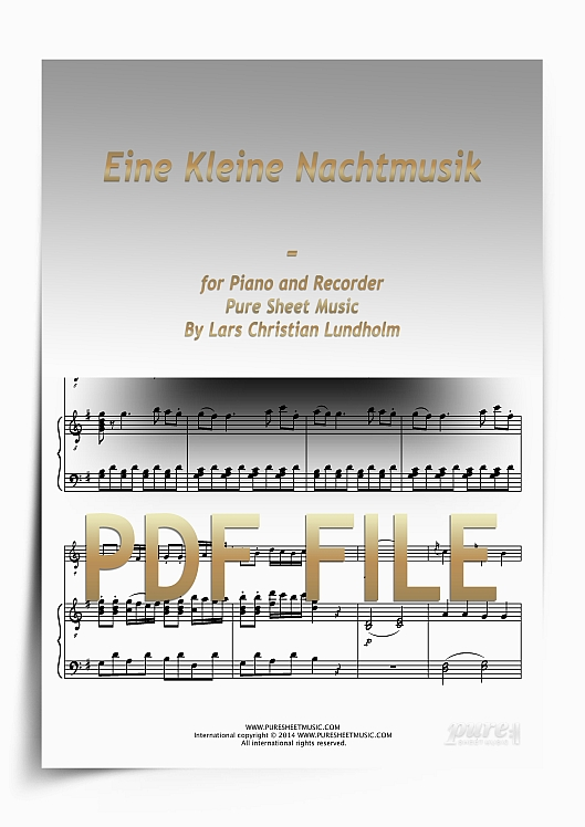 Thumbnail Eine Kleine Nachtmusik for Piano and Recorder (PDF file), Pure Sheet Music arranged by Lars Christian Lundholm