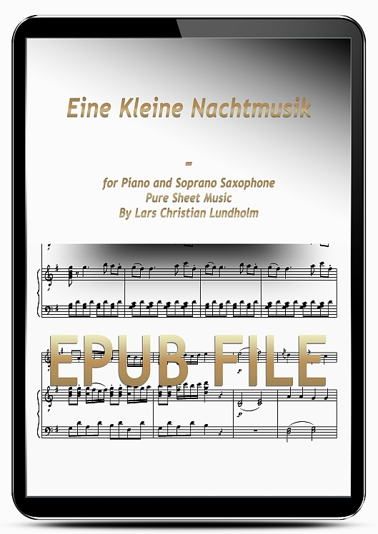 Thumbnail Eine Kleine Nachtmusik for Piano and Soprano Saxophone (EPUB file), Pure Sheet Music as Ebook arranged by Lars Christian Lundholm