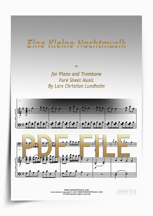 Thumbnail Eine Kleine Nachtmusik for Piano and Trombone (PDF file), Pure Sheet Music arranged by Lars Christian Lundholm