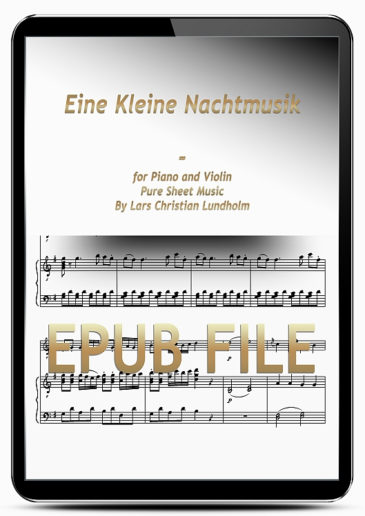 Thumbnail Eine Kleine Nachtmusik for Piano and Violin (EPUB file), Pure Sheet Music as Ebook arranged by Lars Christian Lundholm