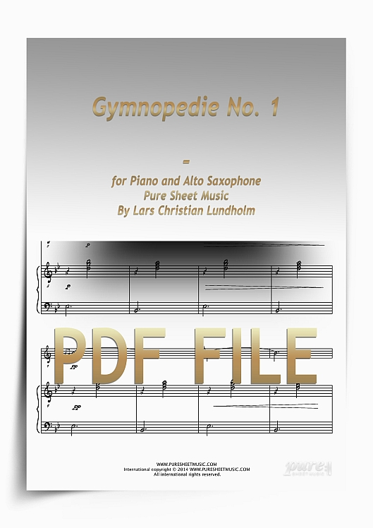 Thumbnail Gymnopedie No. 1 for Piano and Alto Saxophone (PDF file), Pure Sheet Music arranged by Lars Christian Lundholm