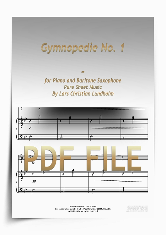 Thumbnail Gymnopedie No. 1 for Piano and Baritone Saxophone (PDF file), Pure Sheet Music arranged by Lars Christian Lundholm
