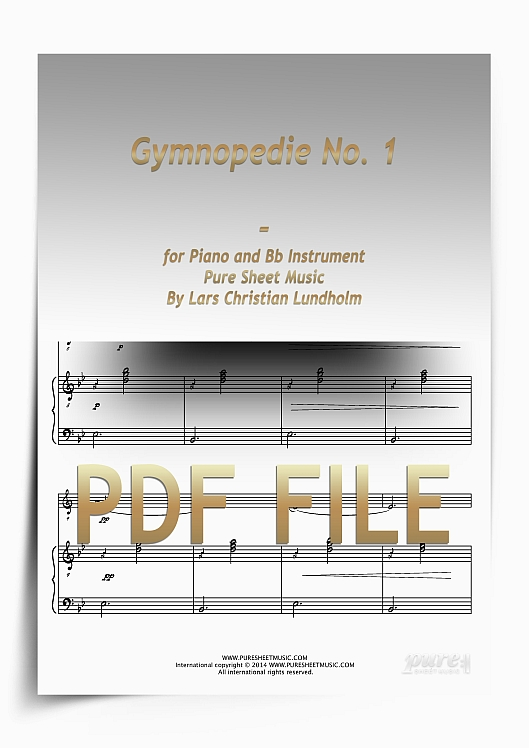 Thumbnail Gymnopedie No. 1 for Piano and Bb Instrument (PDF file), Pure Sheet Music arranged by Lars Christian Lundholm