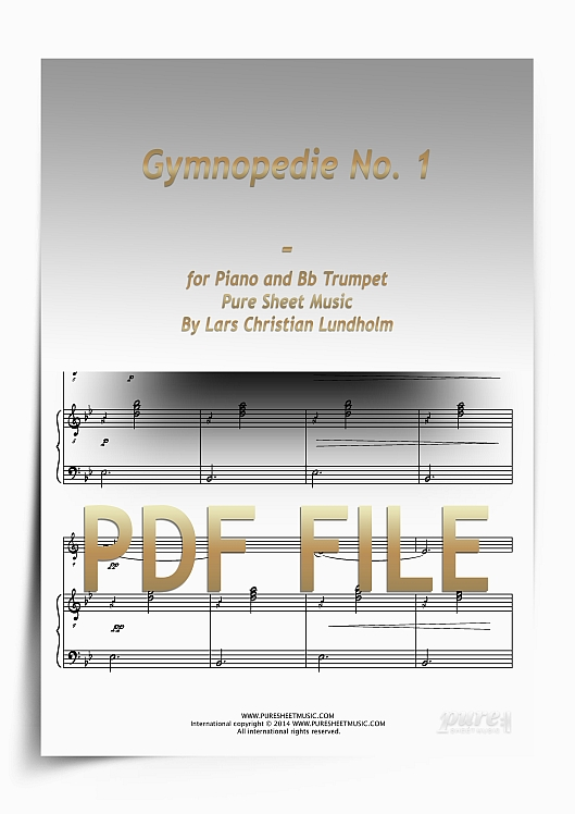 Thumbnail Gymnopedie No. 1 for Piano and Bb Trumpet (PDF file), Pure Sheet Music arranged by Lars Christian Lundholm