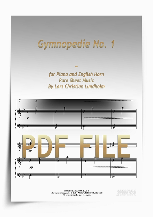 Thumbnail Gymnopedie No. 1 for Piano and English Horn (PDF file), Pure Sheet Music arranged by Lars Christian Lundholm