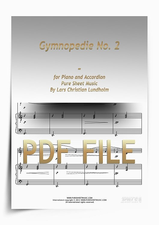 Thumbnail Gymnopedie No. 2 for Piano and Accordion (PDF file), Pure Sheet Music arranged by Lars Christian Lundholm