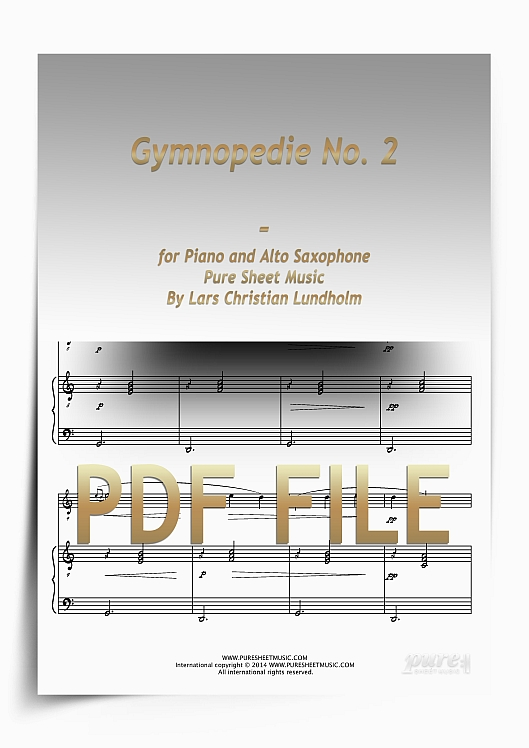 Thumbnail Gymnopedie No. 2 for Piano and Alto Saxophone (PDF file), Pure Sheet Music arranged by Lars Christian Lundholm
