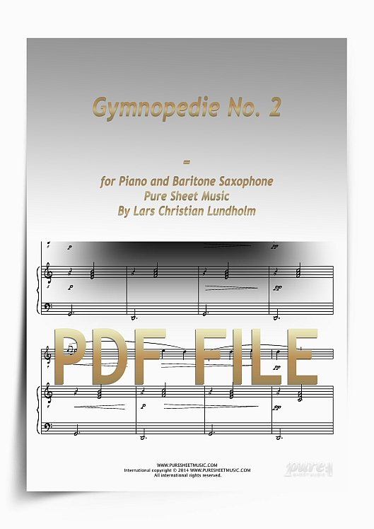 Thumbnail Gymnopedie No. 2 for Piano and Baritone Saxophone (PDF file), Pure Sheet Music arranged by Lars Christian Lundholm