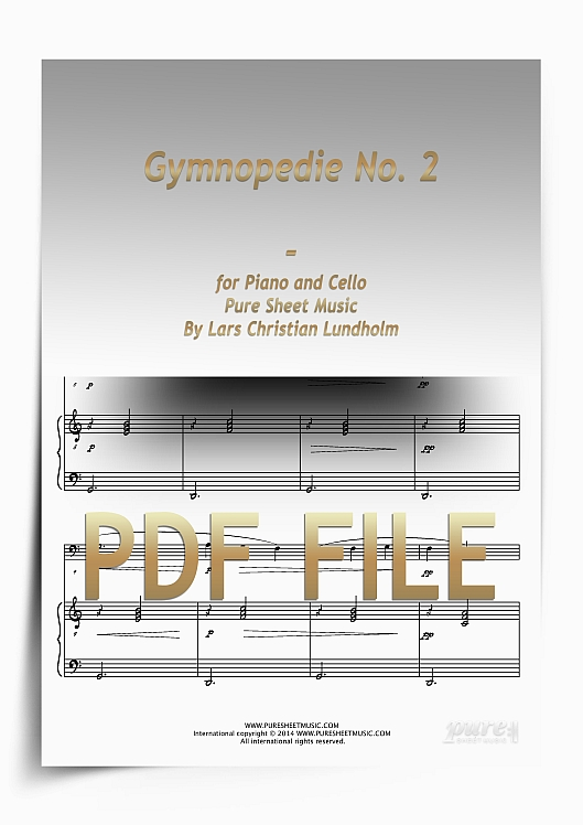 Thumbnail Gymnopedie No. 2 for Piano and Cello (PDF file), Pure Sheet Music arranged by Lars Christian Lundholm