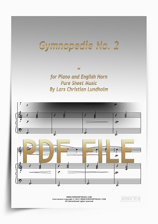 Thumbnail Gymnopedie No. 2 for Piano and English Horn (PDF file), Pure Sheet Music arranged by Lars Christian Lundholm