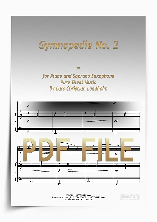 Thumbnail Gymnopedie No. 2 for Piano and Soprano Saxophone (PDF file), Pure Sheet Music arranged by Lars Christian Lundholm