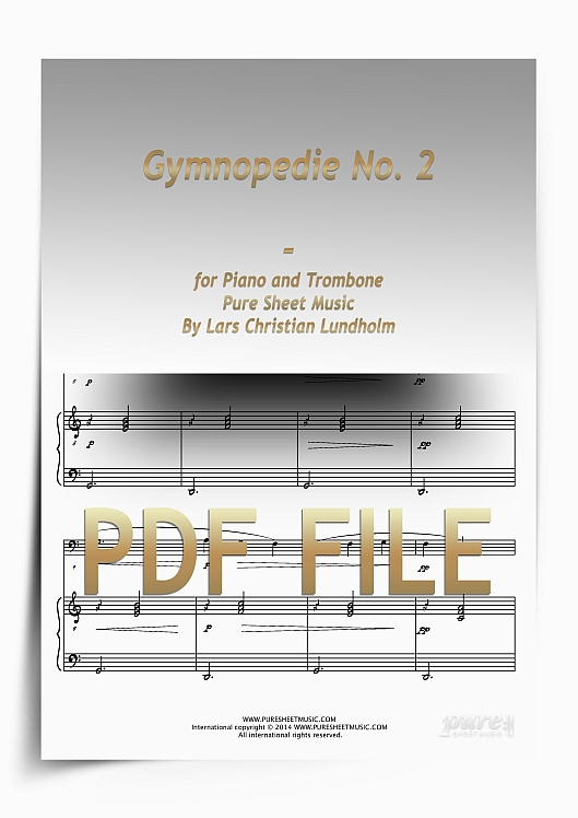 Thumbnail Gymnopedie No. 2 for Piano and Trombone (PDF file), Pure Sheet Music arranged by Lars Christian Lundholm