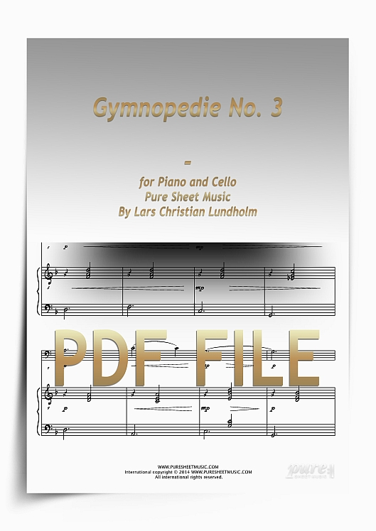 Thumbnail Gymnopedie No. 3 for Piano and Cello (PDF file), Pure Sheet Music arranged by Lars Christian Lundholm
