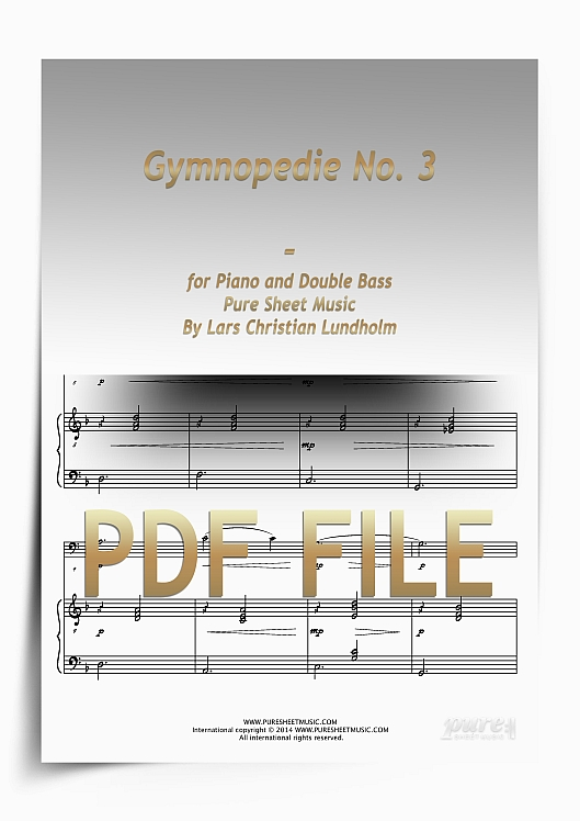 Thumbnail Gymnopedie No. 3 for Piano and Double Bass (PDF file), Pure Sheet Music arranged by Lars Christian Lundholm