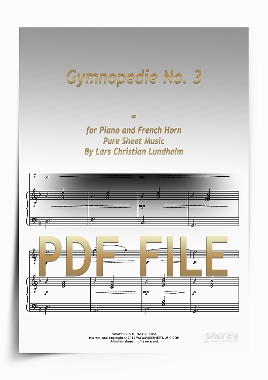 Thumbnail Gymnopedie No. 3 for Piano and French Horn (PDF file), Pure Sheet Music arranged by Lars Christian Lundholm