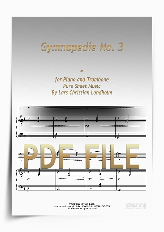 Thumbnail Gymnopedie No. 3 for Piano and Trombone (PDF file), Pure Sheet Music arranged by Lars Christian Lundholm