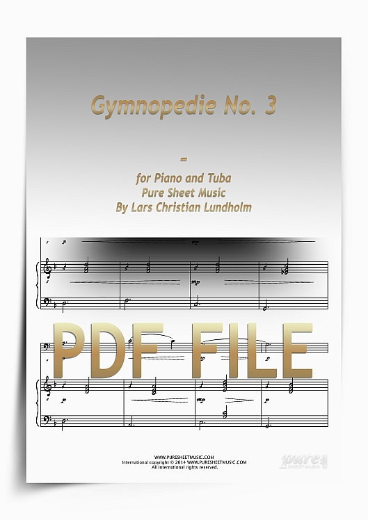 Thumbnail Gymnopedie No. 3 for Piano and Tuba (PDF file), Pure Sheet Music arranged by Lars Christian Lundholm