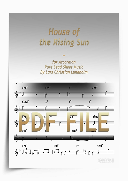 Thumbnail House of the Rising Sun for Accordion (PDF file), Pure Sheet Music arranged by Lars Christian Lundholm