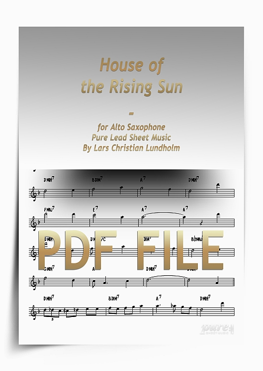 Thumbnail House of the Rising Sun for Alto Saxophone (PDF file), Pure Sheet Music arranged by Lars Christian Lundholm