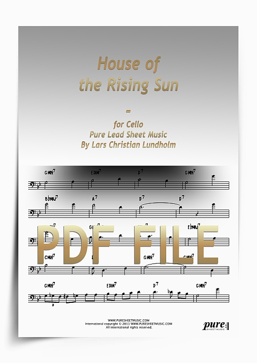 Thumbnail House of the Rising Sun for Cello (PDF file), Pure Sheet Music arranged by Lars Christian Lundholm
