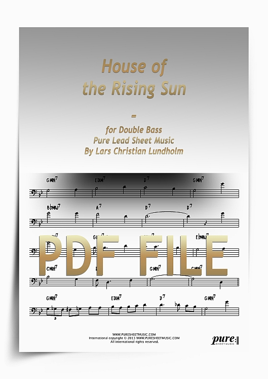 Thumbnail House of the Rising Sun for Double Bass (PDF file), Pure Sheet Music arranged by Lars Christian Lundholm