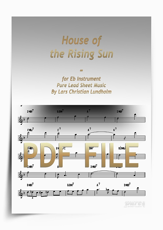 Thumbnail House of the Rising Sun for Eb Instrument (PDF file), Pure Sheet Music arranged by Lars Christian Lundholm