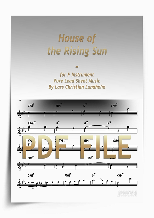 Thumbnail House of the Rising Sun for F Instrument (PDF file), Pure Sheet Music arranged by Lars Christian Lundholm