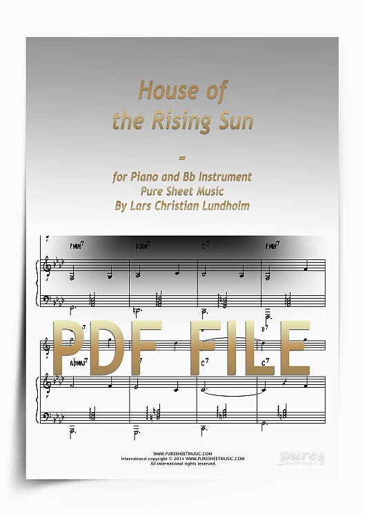 Thumbnail House of the Rising Sun for Piano and Bb Instrument (PDF file), Pure Sheet Music arranged by Lars Christian Lundholm