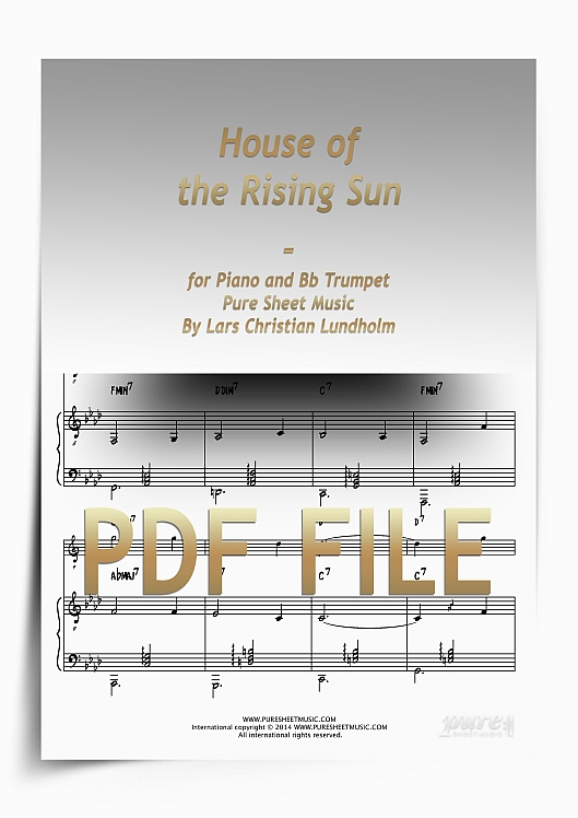 Thumbnail House of the Rising Sun for Piano and Bb Trumpet (PDF file), Pure Sheet Music arranged by Lars Christian Lundholm